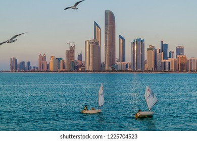 ABU DHABI, UAE - MARCH 7, 2017: View of yachts in Abu Dhabi, United Arab Emirates