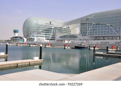 ABU DHABI, UAE - MARCH 7: The Yas Marina Grand Prix Circuit, Hotel on March 7. 2011 in Abu Dhabi. The Formula 1 racetrack has on 161.9 ha area 5.5 km length, 41093 seating capacity.Opened October 2009