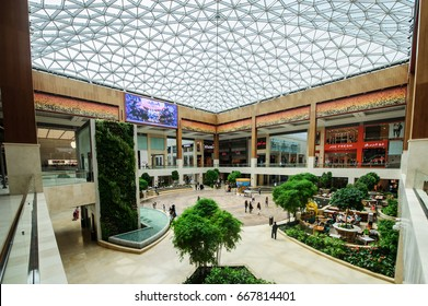 ABU DHABI, UAE - MAY 22: Yas Mall in Abu Dhabi, UAE, as seen on May 22, 2017. It is one of Abu Dhabis largest shopping malls.Situated in Yas island.