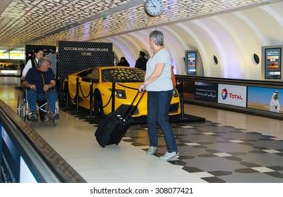 ABU DHABI, UAE, NOV 12 2013: The international airport of Abu Dhabi - the airport in Abu Dhabi, capital of the United Arab Emirates.