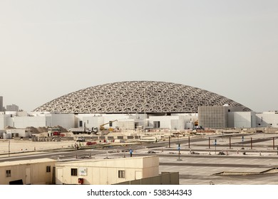 ABU DHABI, UAE - NOV 25, 2016: Construction site of the Louvre Abu Dhabi museum on the Saadiyat Island Cultural District