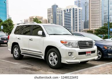 Abu Dhabi, UAE - November 17, 2018: Off-road vehicle Toyota Land Cruiser 200 in the city street.