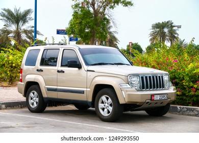 Abu Dhabi, UAE - November 17, 2018: Motor car Jeep Cherokee in the city street.