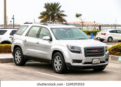 Abu Dhabi, UAE - November 17, 2018: Motor car GMC Acadia in the city street.