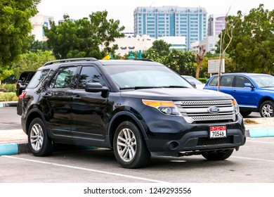 Abu Dhabi, UAE - November 17, 2018: Motor car Ford Explorer in the city street.
