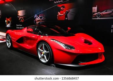 Abu Dhabi, UAE - November 17, 2018: Red supercar Ferrari LaFerrari in the theme park Ferrari World.