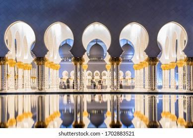 ABU DHABI, UAE - NOVEMBER 17: Sheikh Zayed Grand Mosque in Abu Dhabi on November 17, 2019, UAE. Grand Mosque in Abu Dhabi is the largest mosque in the United Arab Emirates for more than 40,000 prayers