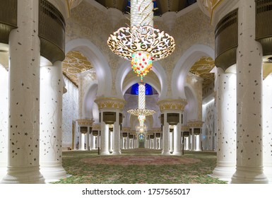 Abu Dhabi, UAE - November 17, 2019: Magnificent interior of Sheikh Zayed Grand Mosque in Abu Dhabi on November 17, 2019. It is the largest mosque in UAE and the eighth largest mosque in the world.