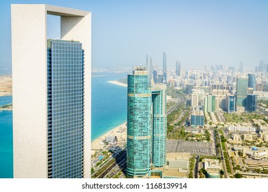 Abu Dhabi, UAE, November 26, 2016: Aerial view of Corniche and downtown area of Abu Dhabi, UAE