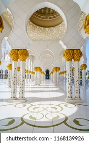 Abu Dhabi, UAE, November 26, 2016: A colonnade in Sheikh Zayed Grand Mosque in Abu Dhabi, UAE