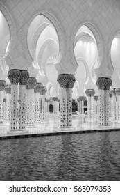 Abu Dhabi, UAE - November 28, 2016: View of Sheikh Zayed Grand Mosque in Abu Dhabi.