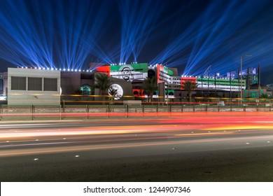 ABU DHABI, UAE - NOVEMBER 29, 2018: Abu Dhabi Municipality celebrating 47th National Day of UAE with laser show