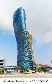 ABU DHABI, UAE - NOVEMBER 5: The Capital Gate Tower on the November 5, 2013 in Abu Dhabi, This is certified as the World's Furthest Leaning Manmade in the world. it is in heart of the business area.