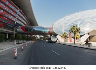 ABU DHABI, UAE - NOVEMBER 5: Entertainment center Ferrari World at Yas Island in Abu Dhabi in the UAE on November 5, 2013. Ferrari World - the largest indoor amusement park in the world.