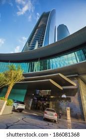 ABU DHABI, UAE - NOVEMBER 5: Etihad Towers on November 5, 2013 in Abu Dhabi, UAE. Etihad Towers is the name of a complex of buildings with five towers in Abu Dhabi, the capital city of UAE.