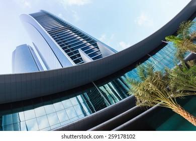 ABU DHABI, UAE - NOVEMBER 5: Modern buildings in Abu Dhabi, on November 5, 2013, Abu Dhabi, UAE. It is the capital of the United Arab Emirates.