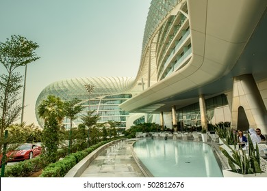 ABU DHABI, UAE - OCTOBER 08, 2016: The exterior of The Viceroy Hotel, formerly Yas Marina Hotel in Abu Dhabi, which is surrounded by the Formula one track and hosts the Grand Prix event anually