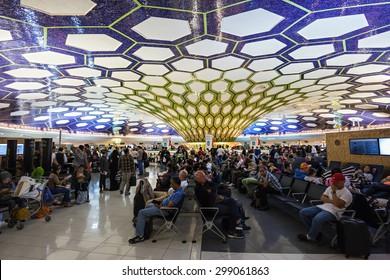ABU DHABI, UAE - OCTOBER 14, 2014: Abu Dhabi International Airport interior.