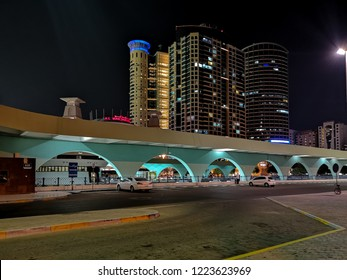 Abu Dhabi, UAE - October 24, 2018: Abu Dhabi city bus station at night - Al Wahda Mall