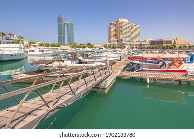 Abu Dhabi, UAE - October 6 2017: A clear sunny day at the Intercontinental Abu Dhabi Marina with views of the Intercontinental hotel, and the St. Regis.