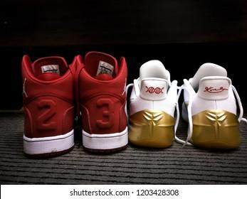Abu Dhabi, UAE - September 10, 2017: Red and white Nike Michael Jordan 23 sneakers - Kobe Bryant nike sneakers (Black Mamba)