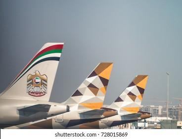 ABU DHABI, UAE - SEPTEMBER 3, 2017: Etihad Airplanes in Abu Dhabi airport. It is the second-largest airline of the UAE after Emirates.