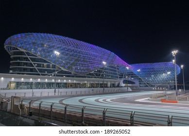 ABU DHABI, UAE - SEPTEMBER 30: The Yas Marina Formula 1 Grand Prix Circuit taken on 30th September 2013 in Abu Dhabi. The Yas Viceroy Hotel is the only current 5* hotel built across a racing circuit.