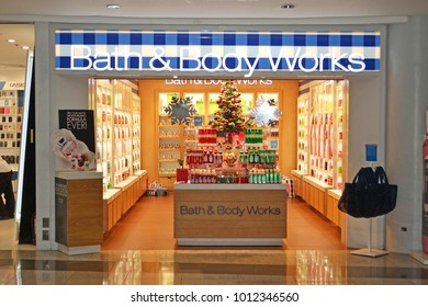 Abu Dhabi, United Arab Emirates - December 11, 2015: Bath & Body Works shop at Abu Dhabi airport duty free. Abu Dhabi airport is one of the most visited airports in the Middle East.