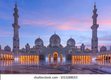 Abu Dhabi / United Arab Emirates - April 9th 2017: Sheik Zayed Mosque at sunset