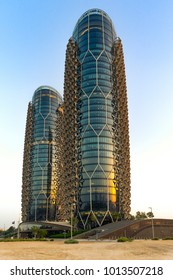 Abu Dhabi, United Arab Emirates - Apr.14, 2017: Al Bahr Towers - paired towers - skyscrapers built by the architect Jean Nouvel. Innovative facade in the style of Mashrabiya