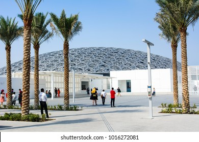 ABU DHABI, UNITED ARAB EMIRATES - JANUARY 26, 2018: Louvre Abu Dhabi building exterior and entrance. New museum in United Arab Emirates opened on November 8th 2017