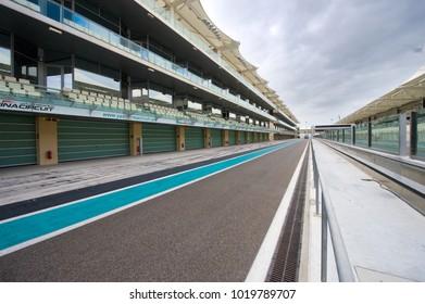 ABU DHABI, UNITED ARAB EMIRATES - 04 JAN, 2018: Pit lane of the the Yasmina Circuit in Abu Dhabi.