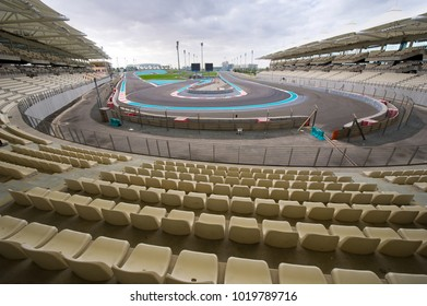 ABU DHABI, UNITED ARAB EMIRATES - 04 JAN, 2018: Corner number 7 on the Yasmina Circuit as seen from the north grandstand.