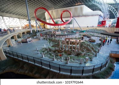 ABU DHABI, UNITED ARAB EMIRATES - 03 JAN, 2018: Interior of indoor amusement park Ferrari World. It is the first Ferrari-branded theme park and is the Middle East's Leading Theme Park.