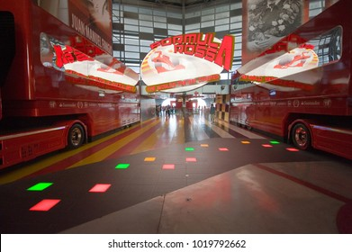 ABU DHABI, UNITED ARAB EMIRATES - 03 JAN, 2018: Entrance to the world's fastest roller coaster in Ferrari world theme park.