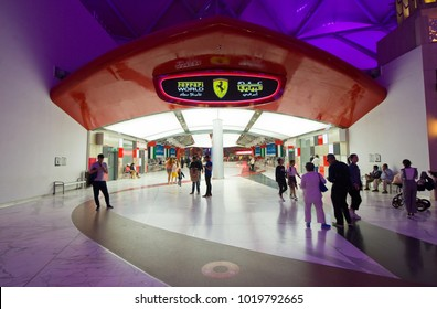 ABU DHABI, UNITED ARAB EMIRATES - 03 JAN, 2018: Entrance of indoor amusement park Ferrari World. It is the first Ferrari-branded theme park and is the Middle East's Leading Theme Park.