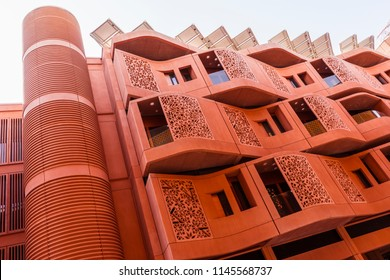 Abu Dhabi, United Arab Emirates - Jun., 2018: Dwelling Buildings  in Masdar City. The Buildings are Equipped with Solar Panels on the Roof