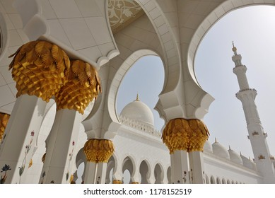 ABU DHABI, UNITED ARAB EMIRATES -5 JUL 2018- View of the Sheikh Zayed Grand Mosque located in Abu Dhabi, the capital city of the United Arab Emirates (UAE).