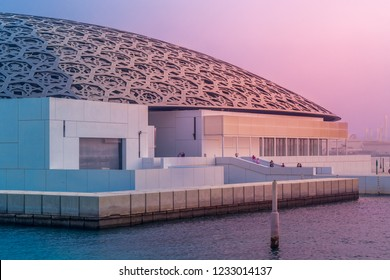 Abu Dhabi, United Arab Emirates, October 7, 2018: Louvre Abu Dhabi in the evening light..