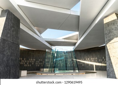 Abu Dhabi, United Arab Emirates - Oct.26, 2018: Wahat Al Karama - war memorial and monument in Abu Dhabi. Pavillion of Honor. A polygonal structure whith seven glass panels - seven Emirates.