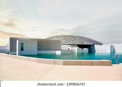 ABU DHABI, UNITED ARAB EMIRATES - JAN 15, 2019: Louvre Museum in Abu Dhabi, United Arab Emirates.