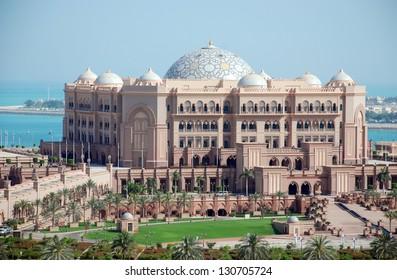 ABU DHABI, UNITED ARAB EMIRATES - APRIL 9: The Emirates Palace hotel April 9, 2012 in Abu Dhabi, United Arab Emirates. This hotel is the most luxurious hotel in Abu Dhabi