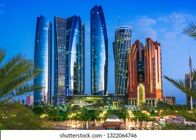 ABU DHABI, UNITED ARAB EMIRATES - FEB 13, 2019: Etihad Towers in Abu Dhabi, United Arab Emirates after sunset