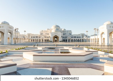 Abu Dhabi, United Arab Emirates - March 12th, 2019: Qasr Al Watan, UAE Presidential Palace, Abu Dhabi, opened to public on March 12th. View on the palace from the entrance and gardens