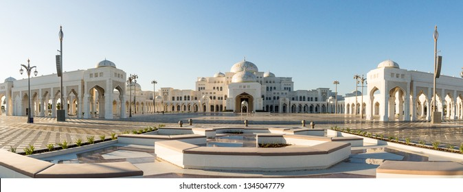 Abu Dhabi, United Arab Emirates - March 12th, 2019: Qasr Al Watan, UEA Presidential Palace, Abu Dhabi, newly open to visitors. Panorama view from the entrance and gardens.