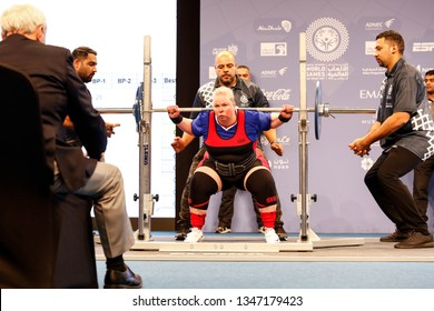 Abu Dhabi, United Arab Emirates - March 20, 2019: Female powerlifter compete during Special Olympics World Games in Abu Dhabi National Exhibition Centre.