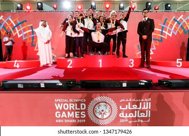 Abu Dhabi, United Arab Emirates - March 20, 2019: Handball team from Germany decoration during Special Olympics World Games in Abu Dhabi National Exhibition Centre.
