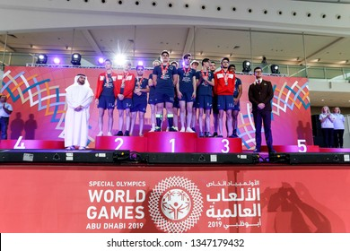 Abu Dhabi, United Arab Emirates - March 20, 2019: Handball team from France decoration during Special Olympics World Games in Abu Dhabi National Exhibition Centre