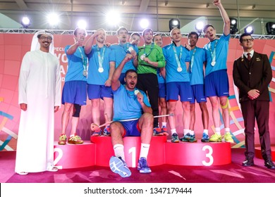 Abu Dhabi, United Arab Emirates - March 20, 2019: Handball team from Russia decoration during Special Olympics World Games in Abu Dhabi National Exhibition Centre.