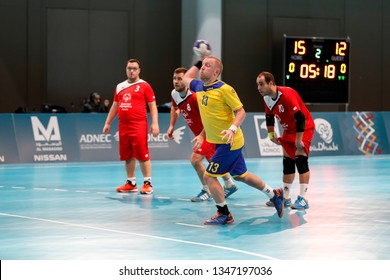 Abu Dhabi, United Arab Emirates - March 20, 2019: Sweden handball team fights Spain during Special Olympics World Games in Abu Dhabi National Exhibition Centre.